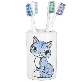 Cute blue cat cartoon soap dispenser and toothbrush holder