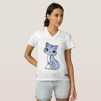 Cute blue cat cartoon women's football jersey
