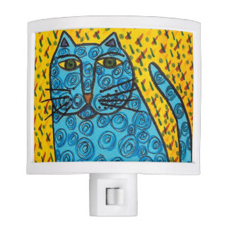 Cute Blue Cat Night Light