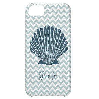 Cute Blue Chevron Seashell iPhone Case
