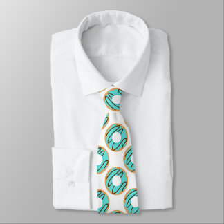 Cute Blue Chocolate Drizzle Donuts Pattern Tie