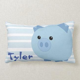 Cute Blue Chubby Pig Lumbar Pillow