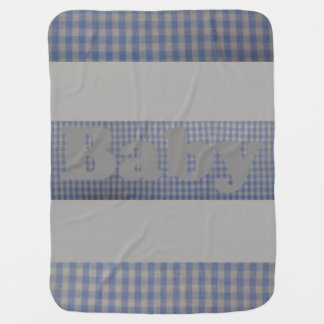 Cute Blue Country Gingham Baby Designer Blanket