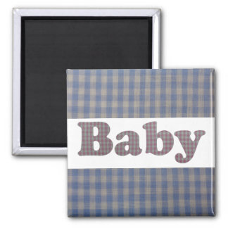 Cute Blue Country Gingham Baby Designer Magnet