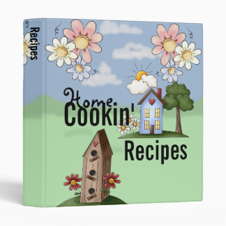 Cute Blue Country House Recipe 3 Ring Binder