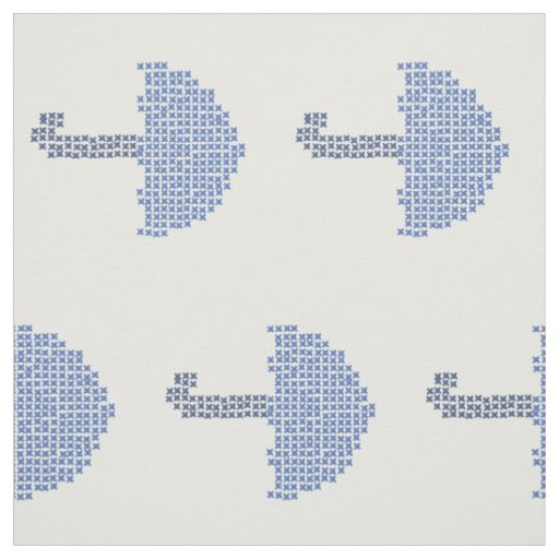 Cute Blue Cross Stitch Umbrellas Pattern White Fabric