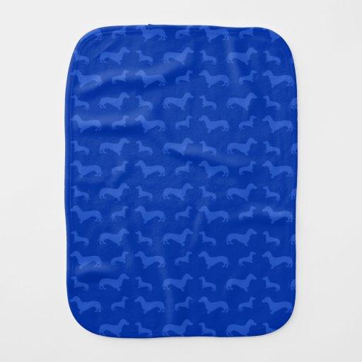 Cute blue dachshund pattern burp cloths