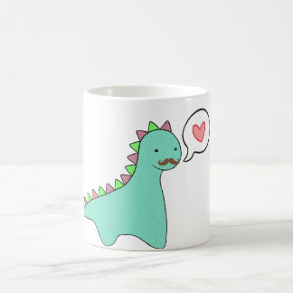 Cute Blue Dinosaur Mustache Classic White Coffee Mug