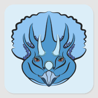 Cute Blue Dinosaur Triceratops Square Sticker