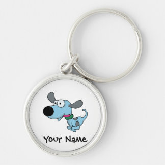 Cute Blue Doggie Silver-Colored Round Keychain