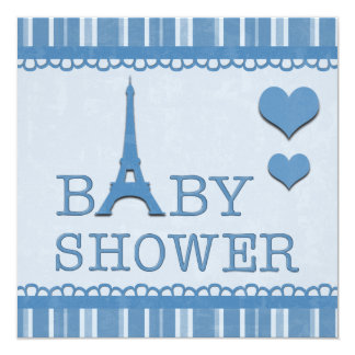 "Cute Blue Eiffel Tower and Hearts Baby Shower 5.25"" Square Invitation Card"