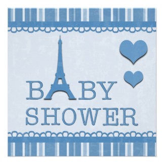 Cute Blue Eiffel Tower and Hearts Baby Shower Personalized Invitations