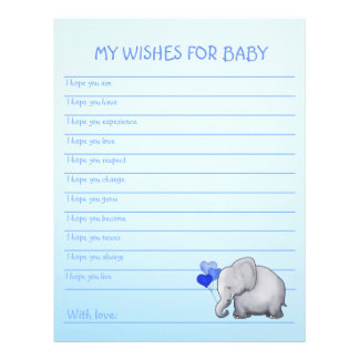 Cute Blue Elephant Baby Boy Shower Wishes for Baby Letterhead
