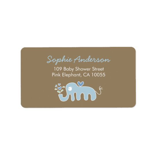 Cute Blue Elephant Baby Shower Address Labels