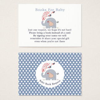 Cute Blue Elephant Baby Shower Book Request Business Card