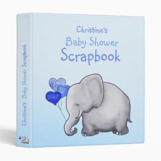 Cute Blue Elephant Boy Baby Shower Scrapbook Binders