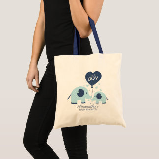 Cute Blue Elephant Boy Baby Shower Tote Bag