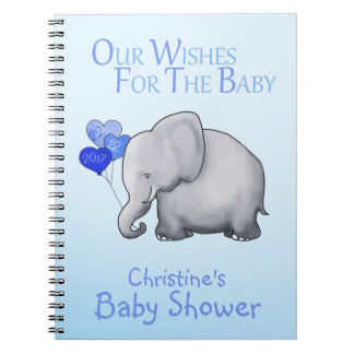 Cute Blue Elephant Boy Baby Shower Wishes for Baby Notebook