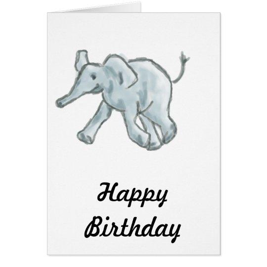 Cute Blue Elephant Card