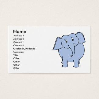 Cute Blue Elephant Cartoon. Business Card