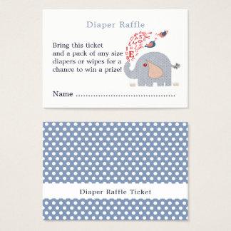 Cute Blue Elephant Shower Diaper Raffle Ticket