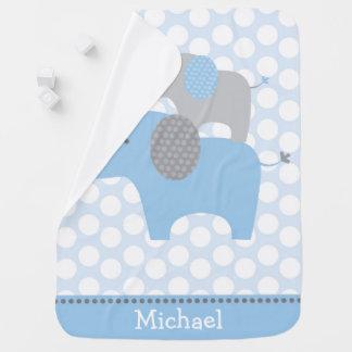 Cute Blue Elephant Swaddle Blankets