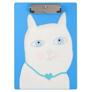 Cute blue eyes cat illustration Clipboard by Gemma
