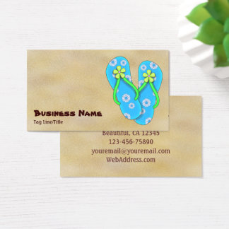 Cute Blue Flip Flop with Flowers on Sand Beach Business Card