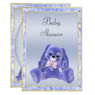 Cute Blue Floppy Ears Bunny Baby Shower Card