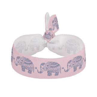 Cute Blue Floral Elephant Illustration Hair Tie