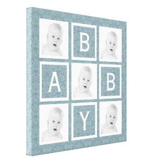 Cute Blue Floral Photo Grid Baby Boy or Girl Canvas Print