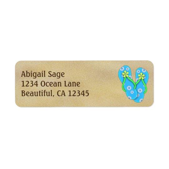 Cute Blue Flower Flip Flops on Sand Beach Address Return Address Label