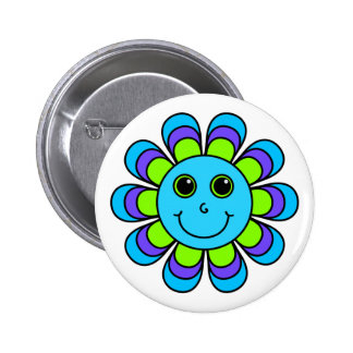 Cute Blue Flower Power Smiley Face 2 Inch Round Button