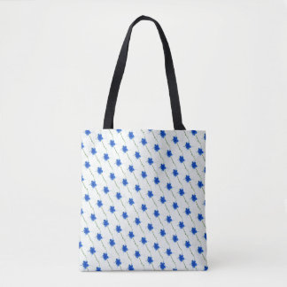 Cute Blue Flower Scribble Tote Bag