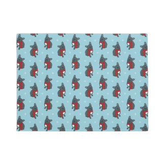 Cute blue Frenchie is ready for winter Doormat