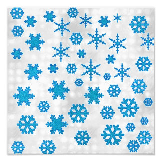 Cute Blue Glitter Snow Flakes on Snowy Background Photo Art