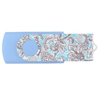 Cute blue gray classic floral USB flash drive