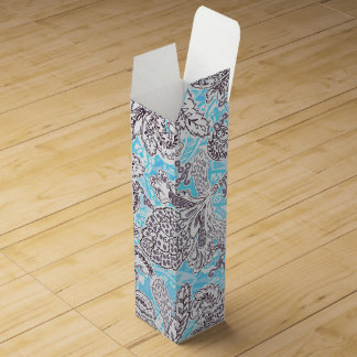 Cute blue gray classic floral wine gift box