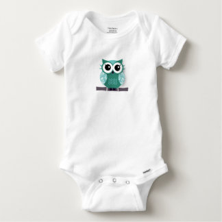 Cute blue green cartoon owl baby onesie