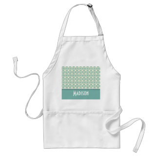 Cute Blue-Green & Cream Floral Adult Apron