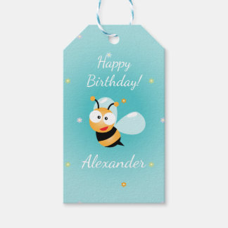 Cute Blue Green Flowers Bumble Bee Kids Birthday Gift Tags