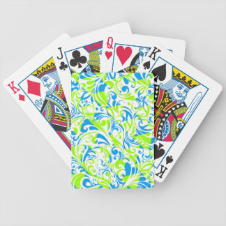 Cute blue green mixed floral patterns bicycle playing cards