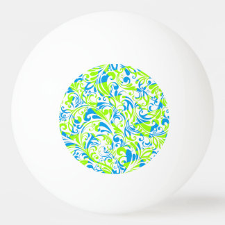 Cute blue green mixed floral patterns ping pong ball