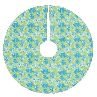 Cute blue green seamless lily floral brushed polyester tree skirt