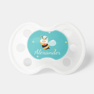 Cute Blue Green Sweet Bumble Bee Flowers Baby Boy Pacifier