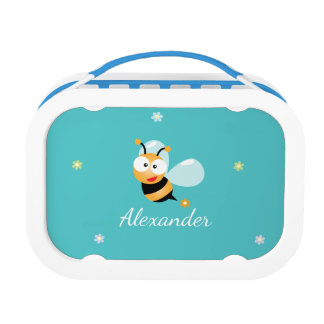 Cute Blue Green Sweet Bumble Bee Flowers Cartoon Lunch Box