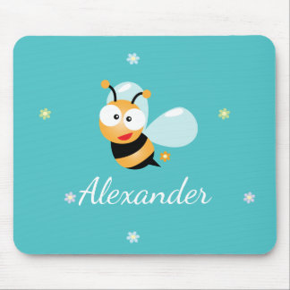 Cute Blue Green Sweet Bumble Bee Flowers Cartoon Mouse Pad