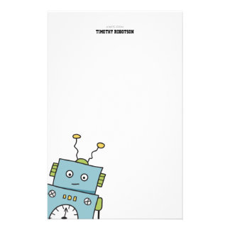 Cute Blue Hand Drawn Robot Customized Stationery