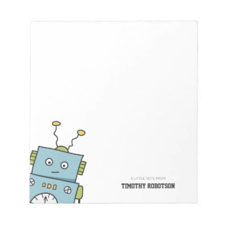 Cute Blue Hand Drawn Robot Notepad