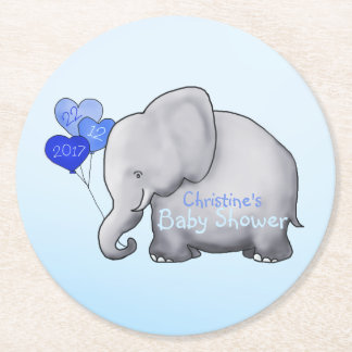 Cute Blue Heart Balloons Elephant Baby Boy Shower Round Paper Coaster